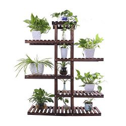 Ufine Carbonized Wood Plant Stand Holder Shelf 6 Tiers Higher Lower Level Shelf Space Saving Flo ...