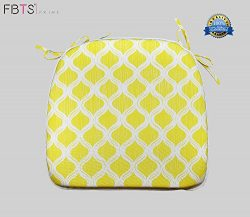 FBTS Prime Chair Cushion 16 x 17 Inches Indoor/Outdoor Seat Pads Square (Set of 2, Yellow) for O ...