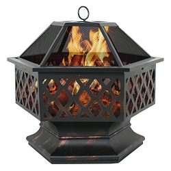 F2C Heavy Steel Hex Shape 24″ Fire Pit Bowl Wood Burning Fireplace Patio Backyar Outdoor H ...