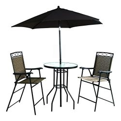 Backyard Expressions 909851 Four Piece Folding Bar Height Patio Set with Table and Umbrella Incl ...
