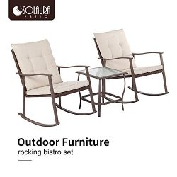 Solaura Outdoor Furniture 3-Piece Rocking Wicker Bistro Set All Weather Brown Wicker with Waterp ...
