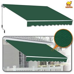 Strong Camel 8′ x 6.6′ Manual Yard Retractable Patio Deck Awning Cover, Canopy Sunsh ...