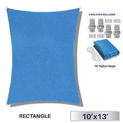 Windscreen4less 10′ x 13′ Rectangle Sun Shade Sail – Solid Blue Durable UV She ...