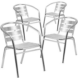 Flash Furniture 4 Pk. Heavy Duty Commercial Aluminum Indoor-Outdoor Restaurant Stack Chair with  ...