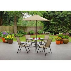 Mainstays Albany Lane 6-Piece Folding Dining Set (Includes Dining table, Folding chairs and Umbr ...