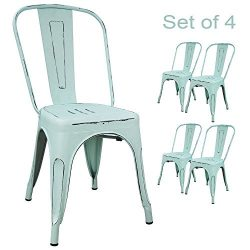 Devoko Metal Indoor-Outdoor chairs Distressed Style Kitchen Dining Chair Stackable Side Chairs W ...