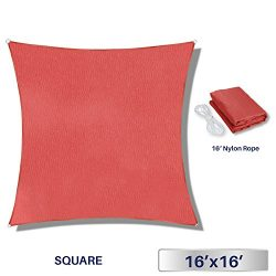 Windscreen4less 16′ x 16′ Sun Shade Sail Square Canopy in Rust Red with Commercial G ...