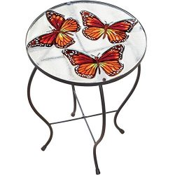 CT DISCOUNT STORE Elegant Round Glass Table Butterfly 3 D Exotic Look Indoor And Outdoor Patio A ...