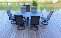 7pc Cast Aluminum Slat Top Swivel Patio Furniture Set – Black