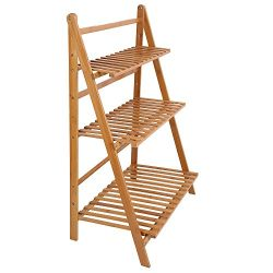 Ogori Bamboo Wood Ladder Plant Stand 3-Tier Foldable Organizer Flower Display Shelf Rack for Hom ...