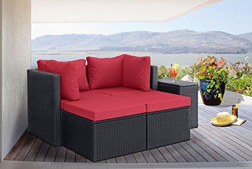 Divano roma 5 piece outdoor patio rattan wicker configurable furniture set with cushions black - Set divano rattan ...
