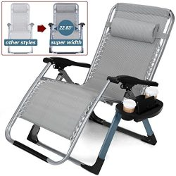 Artist Hand -350LBS Capacity Zero Gravity Heavy Duty Outdoor Folding Lounge Chairs w/Snack Tray, ...