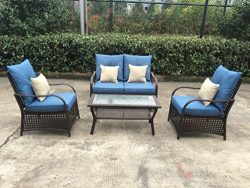 Sol Siesta Clubhouse Collection 4 Piece Conversation Set of Resin Wicker Patio Furniture, Blue C ...