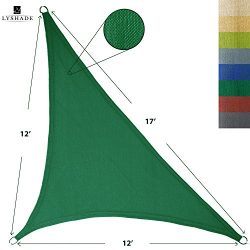 LyShade 12′ x 12′ x 17′ Right Triangle Sun Shade Sail Canopy (Dark Green) &#82 ...