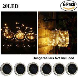Solar Mason Jar Lid Lights, Aukora 6 Pack 20 Led Fairy Solar String Lights, Warm White Jar Lids  ...