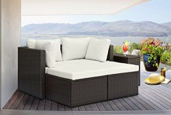 Divano Roma 5 Piece Outdoor Patio Rattan Wicker Configurable Furniture Set with Cushions (Brown/ ...