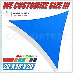 ColourTree 20′ x 20′ x 20′ Sun Shade Sail Canopy Triangle Blue – Commer ...