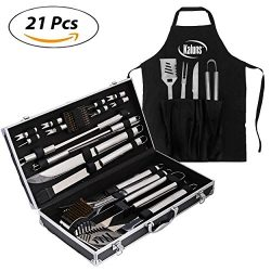 kaluns BBQ Grill set 21 Piece Utensil Set, Heavy Duty Stainless Steel Tools, luxurious and essen ...