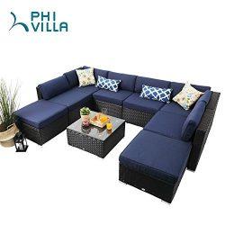 PHI VILLA Rattan Sectional Sofa- Patio Wicker Furniture Set (9 piece)