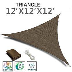 SUNNY GUARD 12′ x 12′ x 12′ Brown Triangle Sun Shade Sail UV Block for Outdoor ...