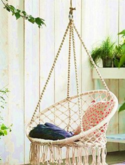 E EVERKING Hammock Chair Macrame Swing, Hanging Cotton Rope Macrame Hammock Swing Chair for Indo ...
