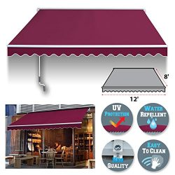 BenefitUSA 12′ x 8′ Manual Retractable Patio Deck Awning Cover, Canopy Sunshade (Bur ...