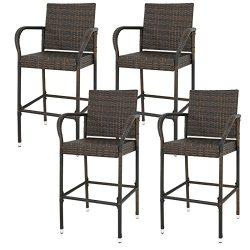 Nova Microdermabrasion Rattan Wicker Bar Stool Outdoor Backyard Chair Patio Furniture Chair With ...