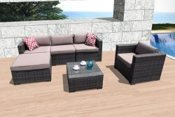 Super Patio 6 Piece Patio Furniture, Weather Resistant Outdoor Conversation Sets, Wicker Furnitu ...