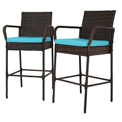 Peachtree Press Inc Kinbor Set of 2 Patio Outdoor Wicker Barstool Set Pool Furniture Patio High  ...