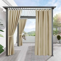 RYB HOME Pergola Outdoor Curtain Panel Drapes Blackout Curtains Outdoor Décor Tab Top Grommet Wa ...