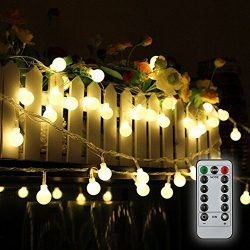 Tomshine 32.8ft 80 LED Battery Operated Globe String Lights Outdoor Decor for Patio Garden Party ...