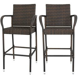 F2C Brown Wicker Barstool All Weather Dining Chairs Outdoor Patio Furniture Bar Stools (set of 2)