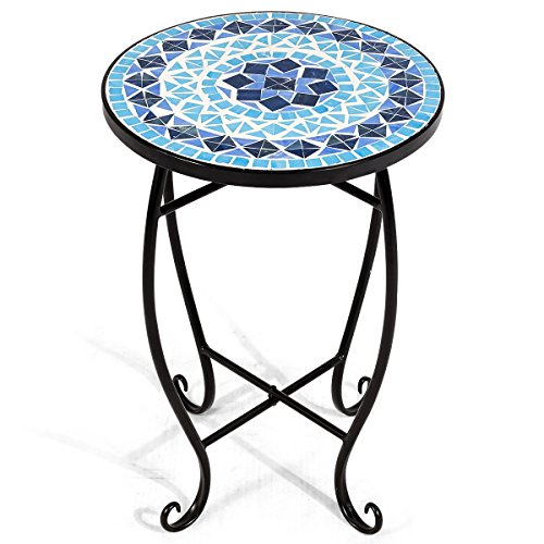 Giantex Mosaic Round Side Accent Table Patio Plant Stand