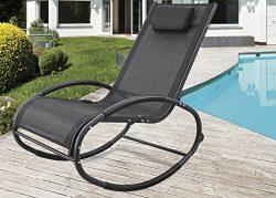 GREARDEN Patio Rocking Lounge Chair Aluminum Orbital Zero Gravity Chair Outdoor Recliner Pool Ch ...