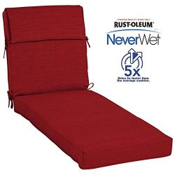 allen + roth Neverwet 1-Piece Cherry Red Patio Chaise Lounge Chair Cushion