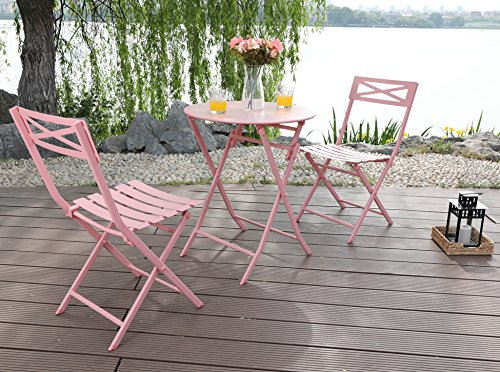 Phi Villa 3 Piece Pink Patio Steel Folding Table And