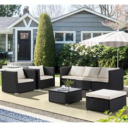 Uenjoy 7PC Outdoor Rattan Wicker Patio Furniture Set Cushioned Sofa & Table Garden Lawn Black