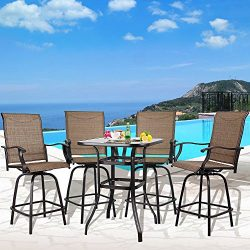 I-Choice 5 pcs Outdoor Swivel Bar Stool Set Textilene Height Bistro Sets Patio Kitchen Home Gard ...
