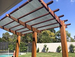 Ecover 90% Shade Cloth Grey Sunblock Fabric with Rope UV Resistant for Patio/Pergola/Canopy,12x12ft