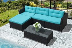 Super Patio Outdoor Patio Furniture Set, 5pc Outdoor PE Wicker Rattan Sectional Furniture Set wi ...