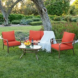 Best Choice Products 4-Piece Cushioned Patio Furniture Conversation Set w/Loveseat, 2 Chairs, Co ...