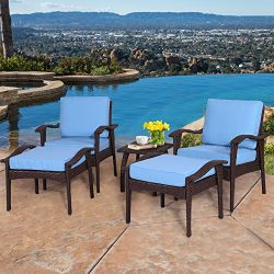 Diensday Outdoor Furniture | Patio Conversation Sets 5-Piece Lounge Chair & Ottoman set | Al ...
