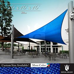 Royal Shade 16′ x 16′ x 16′ Blue Triangle Sun Shade Sail Canopy Outdoor Patio  ...