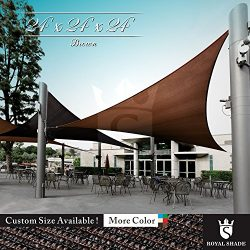 Royal Shade 24′ x 24′ x 24′ Brown Triangle Sun Shade Sail Canopy Outdoor Patio ...