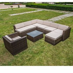 MAGIC UNION Outdoor Patio PE Rattan Wicker Cushion Patio Furniture 9 Pieces Sofa Sets