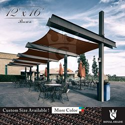 Royal Shade 12′ x 16′ Brown Rectangle Sun Shade Sail Canopy Outdoor Patio Fabric She ...