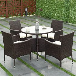 TANGKULA 5 Piece Dining Set Patio Furniture Outdoor Garden Lawn Rattan Wicker Table and Chairs S ...