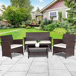 TANGKULA Outdoor Patio Furniture 4 Piece Cushioned Sofa and Coffee Table Set Tea Table with 2 Sh ...