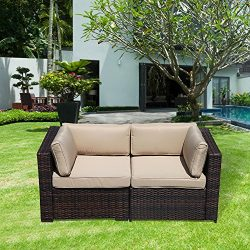 PATIOROMA Patio Loveaseat (2 Corner Sofa Chairs), All Weather Brown PE Wicker Outdoor Furniture, ...