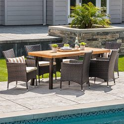 Great Deal Furniture Randy | Outdoor 7-Piece Acacia Wood and Wicker Dining Set with Cushions | T ...
